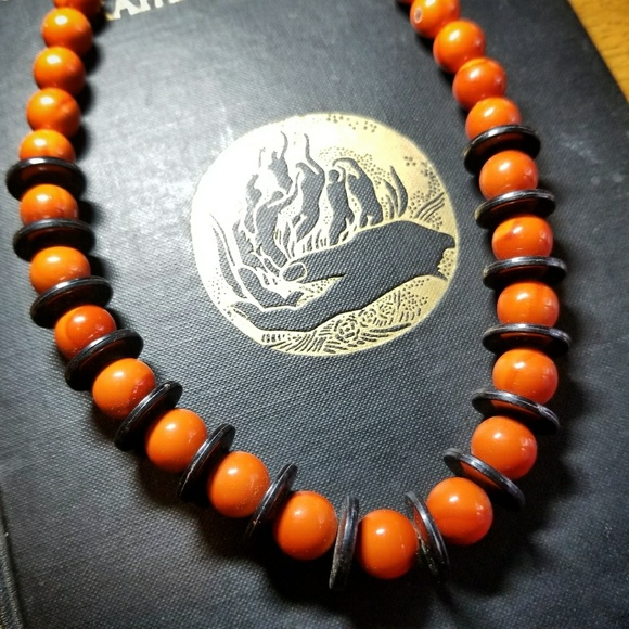 vintage halloween bead necklace orange and black